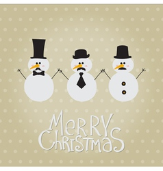 Retro Snowman with Mustache and Hats vector