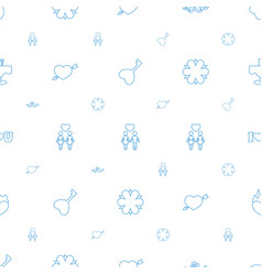 romantic icons pattern seamless white background vector image