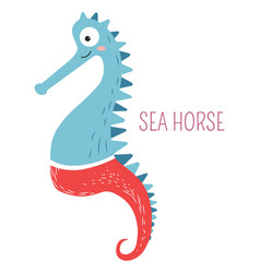 Sea horse in pants childish book cartoon character vector