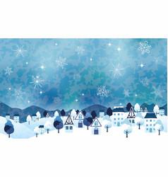 Seamless winter landscape with an idyllic village vector
