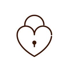 Security padlock love heart romantic passion vector