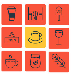 Set of 9 cafe icons includes lemonade coffee cup vector