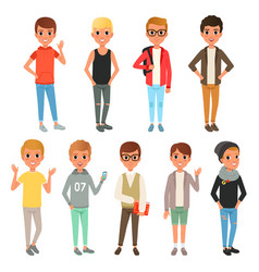 Set of cute boys characters dressed in stylish vector