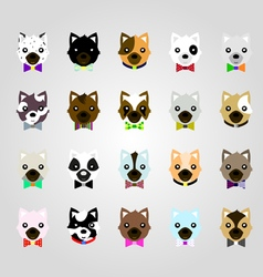 Set of the dog face vector image