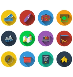 Set of travel icons in flat design vector image