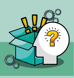 silhouette man question exclamations box vector image