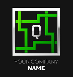 silver letter q logo symbol in the square maze vector image