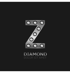 Silver Z letter vector image
