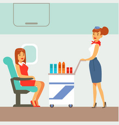 stewardess serving drinks to plane passengers vector image