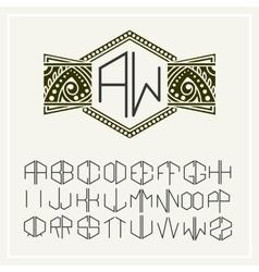 Stylish monogram elegant line art logo design vector