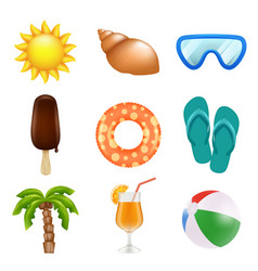 summer realistic icons travel and summer holidays vector image