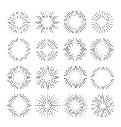 sunburst set flash sunlight line art vector image