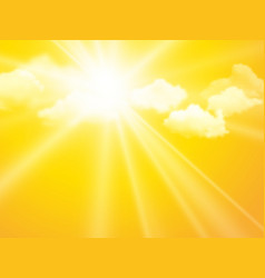 sunshine sky abstract yellow clouds background vector image