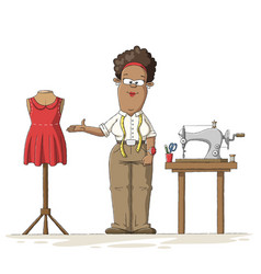 Tailor with utensils vector