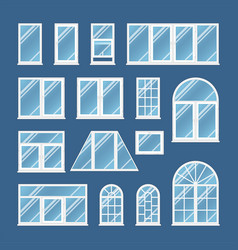 Windows with transparent glass vector