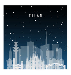 winter night in milan night city in flat style vector image