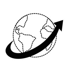 world planet earth with arrow vector image