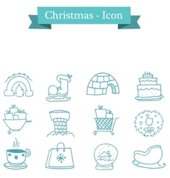 Collection of christmas set object vector
