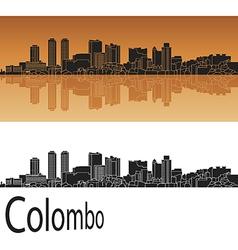 Colombo skyline in orange vector