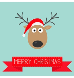Cute cartoon deer with horns and red hat christmas vector image vector image