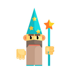 Gnome wizard in blue hat with stars and staff in vector