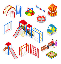 kids playground elements set isometric view vector image