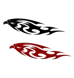 Stylized patterned predator bird with a fierce vector image vector image