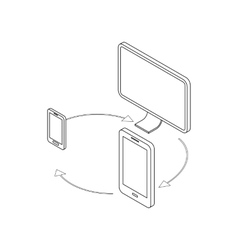 Gadgets synchronization icon isometric 3d style vector image