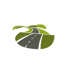 Hilly road abstract icon on white vector