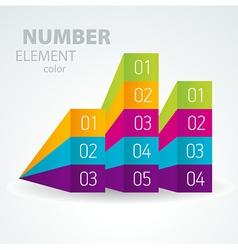 number list perspective arrow cursor element set vector image