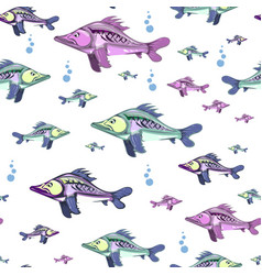 seamless pattern of colorful fish vector image vector image