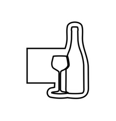 monochrome contour emblem with bottle and glass of vector image vector image