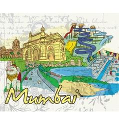 mumbai doodles vector image vector image