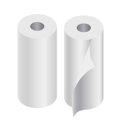 paper rolls set of two isolated on white vector image vector image
