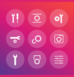 settings configuration development icons set vector image