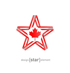star with Canadian flag colors and symbols design vector image vector image