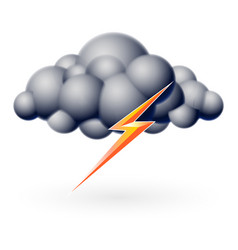 bubble cloud with lightning on white vector image vector image
