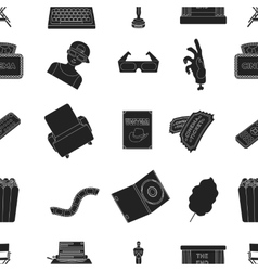 Films and cinema pattern icons in black style Big vector image vector image