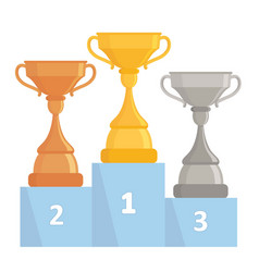 gold silver and bronze trophy cups tree winner vector image