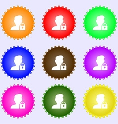 User is blocked icon sign big set of colorful vector