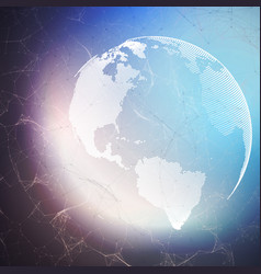 world globe on dark background with connecting vector image