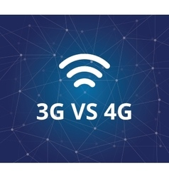 3g vs 4g with wifi signal and dot blue as vector