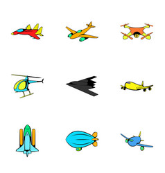 Air icons set cartoon style vector