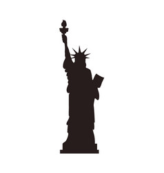 american statue liberty stand black silhouette vector image