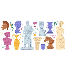 Ancient greek marble statues vase and helmet icon vector