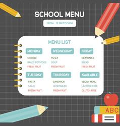 back to school school menu poster template vector image