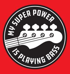 Bass guitar badge or emblem vector