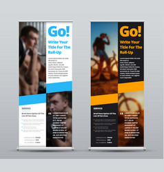 black and white roll-up banner with place vector image