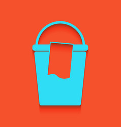 Bucket and a rag sign whitish icon on vector