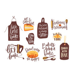 bundle lettering written with calligraphic font vector image
